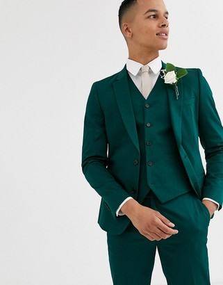 Asos Design DESIGN wedding skinny suit jacket in cotton in forest green