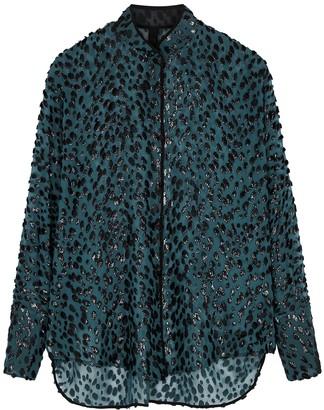 Petar Petrov Capri teal silk-blend chiffon blouse