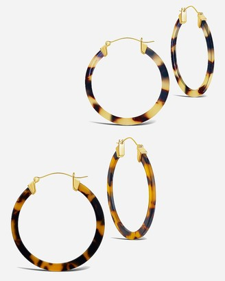 Express Sterling Forever Tortoise Resin Hoop Earring Set