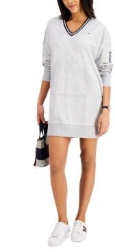 Tommy Jeans V-Neck Sweatshirt Dress