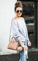Ily Couture Off the Shoulder Tie Sweatshirt - Grey