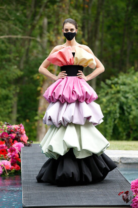 Christian Siriano Strapless Silk Faille Sculpted Tiered Gown
