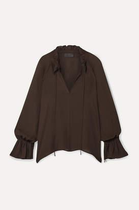 Nili Lotan Royan Ruffled Silk-chiffon Blouse - Dark brown
