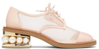 Nicholas Kirkwood Casati Pearl-heeled Mesh Derby Shoes - Womens - Light Pink
