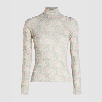 Nanushka Pink Madi Floral Print Turtleneck Top XL