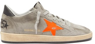 Golden Goose Ball Star Distressed Suede Trainers - Mens - Grey Multi