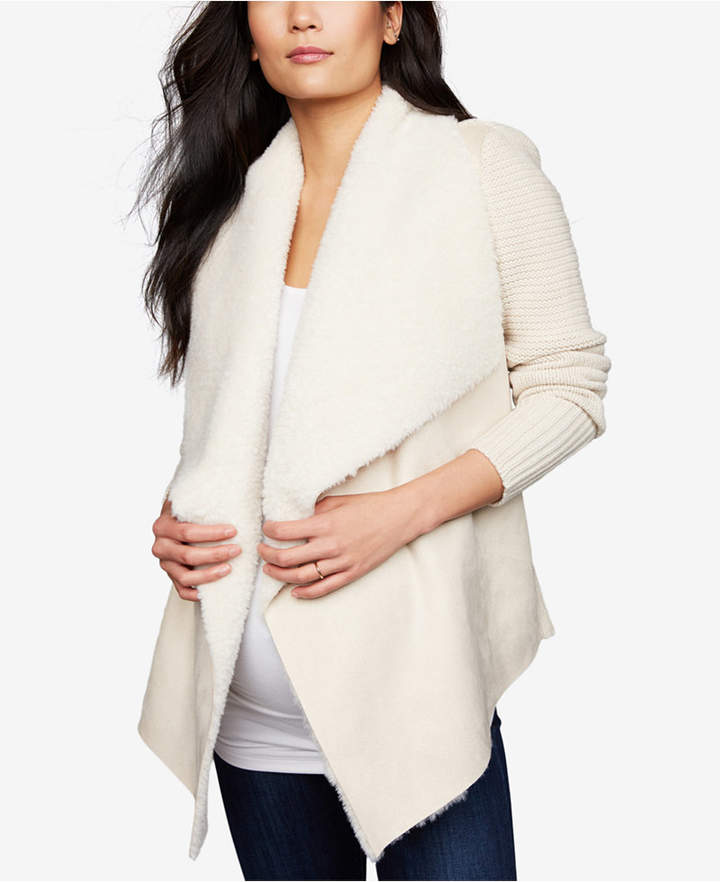 Maternity Draped Faux-Suede Jacket