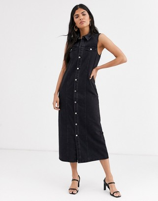 Lost Ink button front maxi column dress in denim