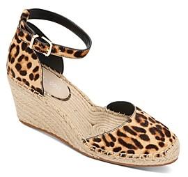 Kenneth Cole Women's Olivia Leopard Print Wedge Heel Espadrilles