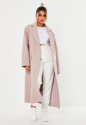 Missguided Petite Pink Side Split Formal Midaxi Coat