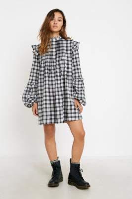 Urban Outfitters Jill Mono Check Babydoll Mini Dress - black S at