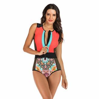 kolila Women's One Piece Swimsuit UV Sun Protection Rashguard Swimming Bathing Suit Zip-Up Floral Printed Swimwear (Orange S)