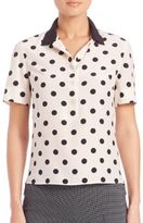 Akris Punto Silk Polka-Dot Polo Blouse