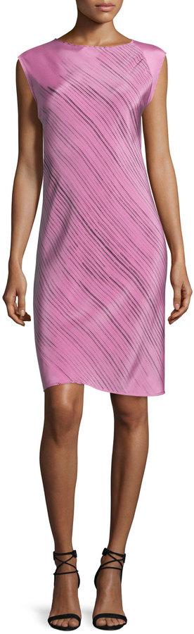 Shamask Sleeveless Grid-Print Spiral Dress, Pink