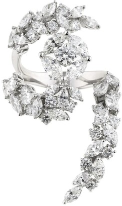 YEPREM White Gold and Diamond Y-Not Curved Ring