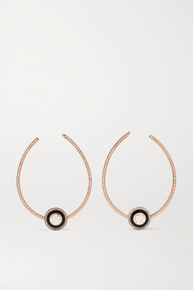 Selim Mouzannar Mina 18-karat Rose Gold, Enamel And Diamond Hoop Earrings - one size