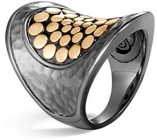 John Hardy Blackened Sterling Silver & 18K Bonded Gold Dot Saddle Ring