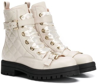 Elisabetta Franchi La Mia Bambina Diamond Quilted Boots