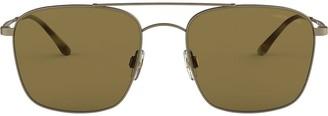 Giorgio Armani Double Bridge Aviator Sunglasses