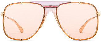 Gucci Embellished Pilot Oversized Square Sunglasses in Shiny Gold Transparent Lilac & Pink | FWRD