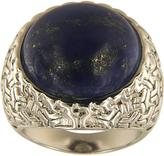 Ice 20 CT TGW Dyed Lapiz Lazuli Polished Brass Vintage Round Solitaire Fashion Ring