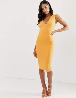 Asos Design DESIGN curved plunge pencil midi dress-Orange