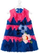 Mi Mi Sol floral-embellished pleated dress