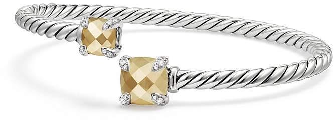 David Yurman Ch'telaine Bypass Bracelet with 18K Gold and Diamonds