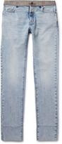 Maison Margiela - Re-edition Slim-fit Check-trimmed Washed-denim Jeans