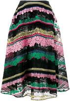 Valentino striped embroidered midi skirt