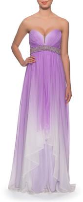 La Femme Women's Special Occasion Dresses Wisteria - Wisteria Ombre Chiffon Strapless Sweetheart Gown & Beaded Belt - Women