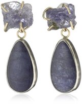 Melissa Joy Manning Metallic Denim One of A Kind with Star Sapphire Slice, Pyritized Ammonite, and Lapis Drop Earrings