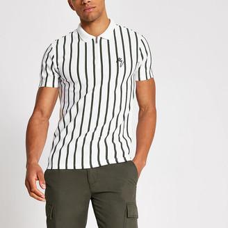 River Island Maison Riviera white stripe slim polo shirt