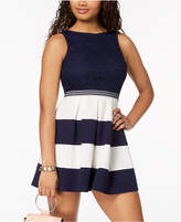 Speechless Juniors' Lace & Striped Fit & Flare Dress
