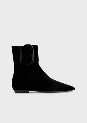 Emporio Armani Velvet Ankle Boots With Oversized Buckle