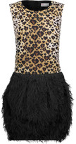 RED Valentino Leopard-print satin and faux feather-embellished crepe mini dress