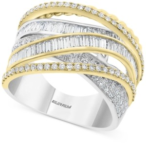 Effy Diamond Baguette Crossover Statement Ring (1-1/3 ct. t.w.) in 14k Gold & White Gold