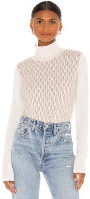 Autumn Cashmere Fluffy Honeycomb Mock Sweater