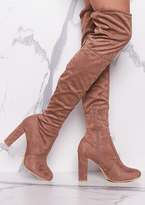 Missy Empire Lolita Mocha Suede Thigh High Heeled Boots