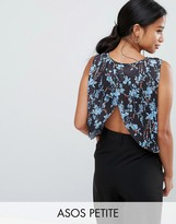 Asos Top With Split Back In Pleated Ditsy Print
