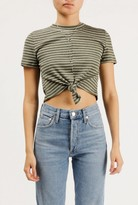 Azalea Striped S/S Tie Front Crop Top