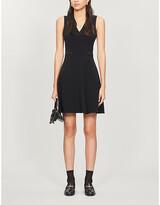 Claudie Pierlot Lace-embroidered crepe mini dress
