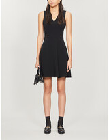Claudie Pierlot Lace-embroidered crepe mini dress