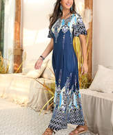 Reborn Collection Women's Maxi Dresses Blue - Blue Abstract Ruffle Sleeve Maxi Dress - Plus