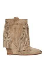 Strategia 90mm Suede Fringed Wedge Boots