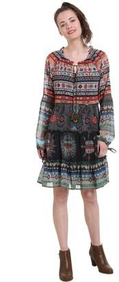 Desigual Short Tribal Print Dress in Voile
