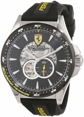 Scuderia Ferrari Mens Skeleton Automatic Watch with Silicone Strap 0830601