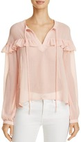 En Creme Sheer Ruffle-Trim Blouse