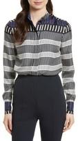 Diane von Furstenberg Women's Stripe Silk Shirt