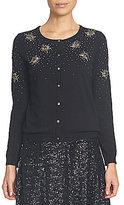 CeCe Round Neck Floral Cluster Embellished Knit Jersey Cardigan